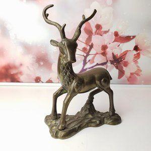 Brass Mid Century Modern Deer Statue Buck Gold